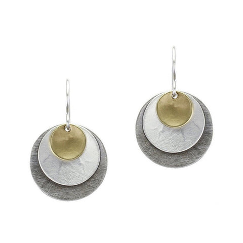 Marjorie Baer Triple Toned Layered Discs Earring
