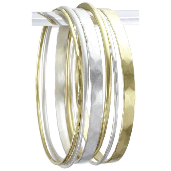 Marjorie Baer Six Piece Mixed Metal Bangle Set