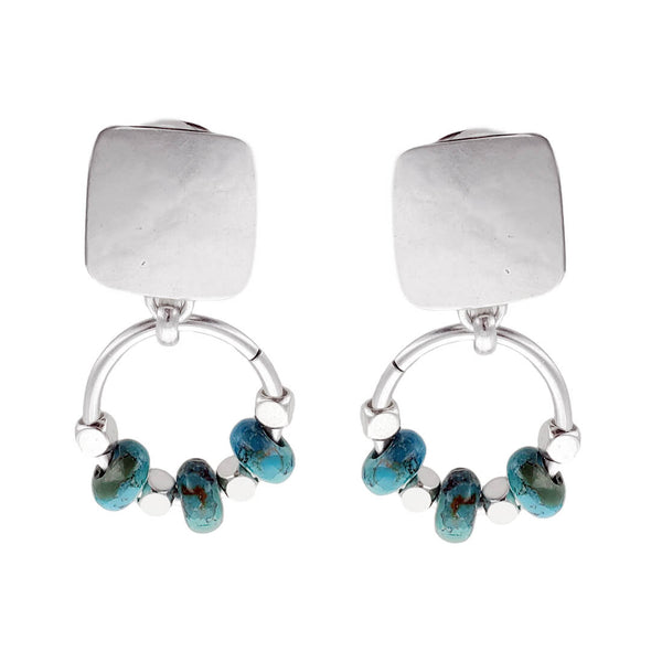 Marjorie Baer Turquoise Silver Beaded Hoop Clip Earrings