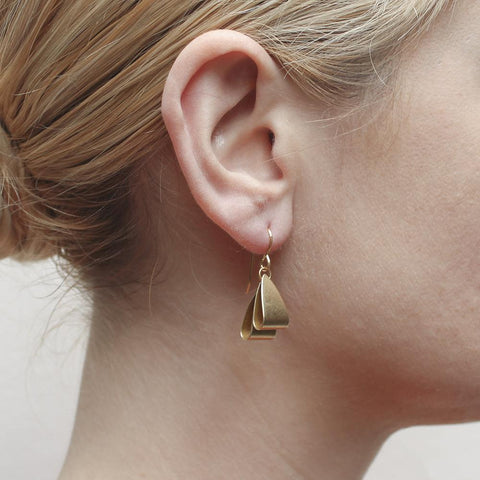 Marjorie Baer Two Layered Folded Triangles Wire Earrings On Ear