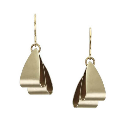 Marjorie Baer Two Layered Folded Triangles Wire Earrings