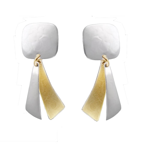 Marjorie Baer Two-Tone Arched Tabs Clip Earrings