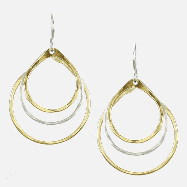 Marjorie Baer Triple Tear Drop Hoop Earrings