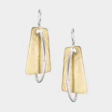 Marjorie Baer Earrings Brass Trapezoid with Silver Hoop