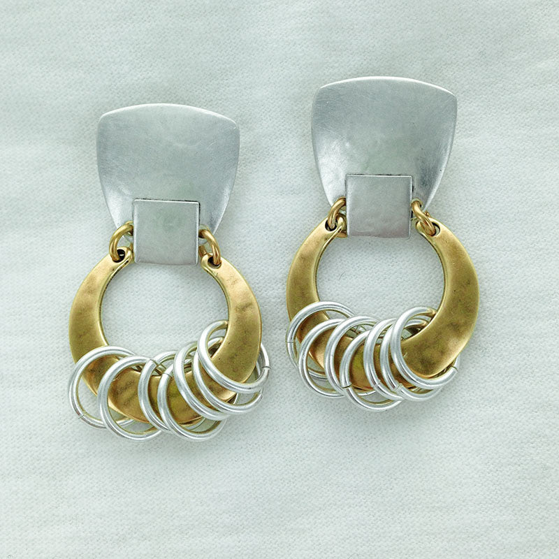 cb43bc155 Marjorie Baer Textured Mixed Metal Clip Or Post Earrings With Mini Hoops –  Sheva Jewelry