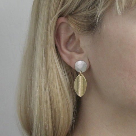 Marjorie Baer Disc Linked Concave Leaf Post Earrings On Ear
