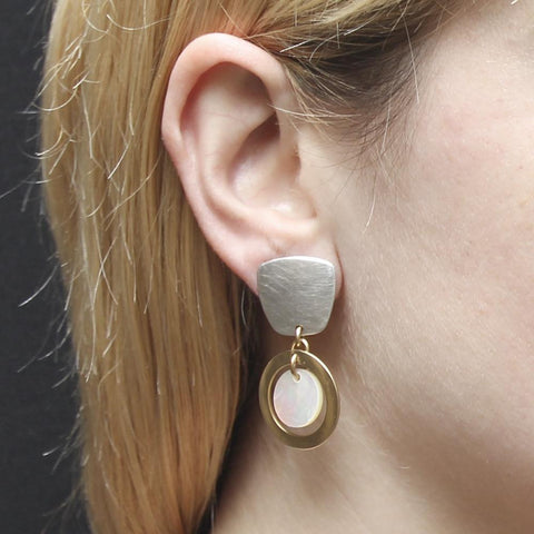 Marjorie Baer Tapered Square Post Hoop Earrings With Mother Of Pearl On Ear