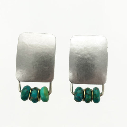 Marjorie Baer Textured Silver Turquoise Disc Earrings