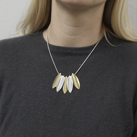 Overlapping Leaves Necklace on Model