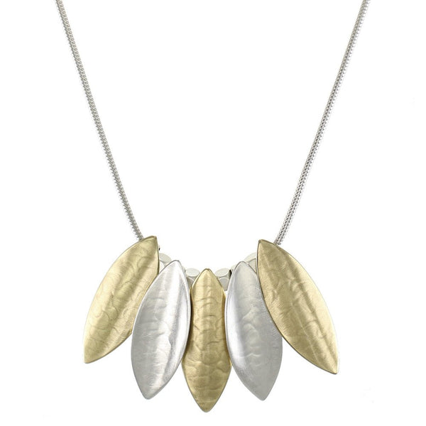 Marjorie Baer Overlapping Mixed Metals Leaves Necklace
