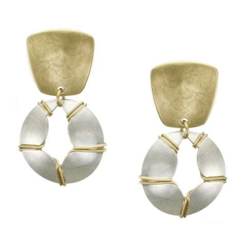 Marjorie Baer Tapered Square Wire Wrapped Cutout Dome Earring