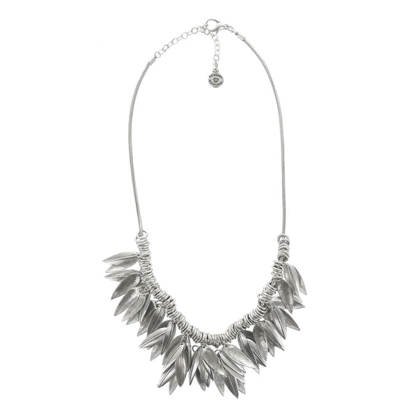 Metal Pointus Feuille Necklace