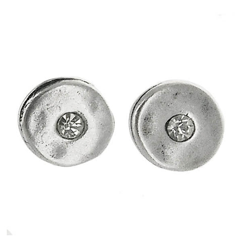 Metal Pointus Round Crystal Gena Post Earrings