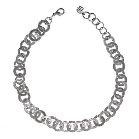 Metal Pointus Oxidized Connected Hoops Necklace