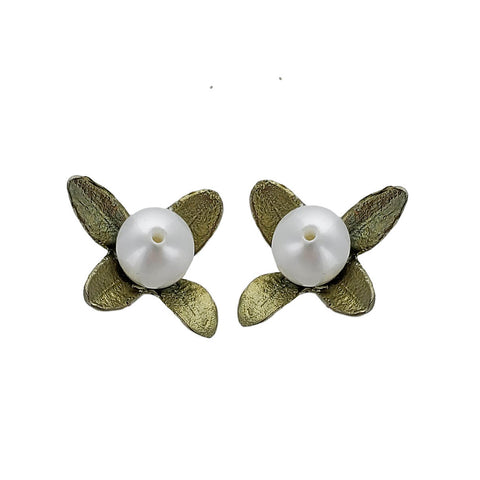 Michael Michaud Boxwood Flower Post Earrings