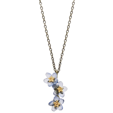 Michael Michaud Forget Me Not Triple Flower Pendant Necklace