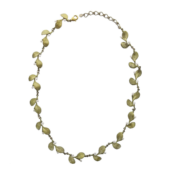 Michael Michaud Irish Thorn Leaves With Pearls Necklace