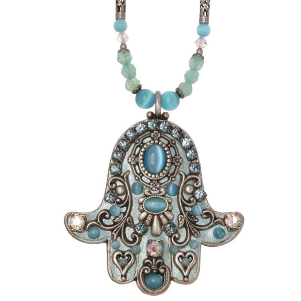 Michal Golan Cats Eye Hamsa Necklace