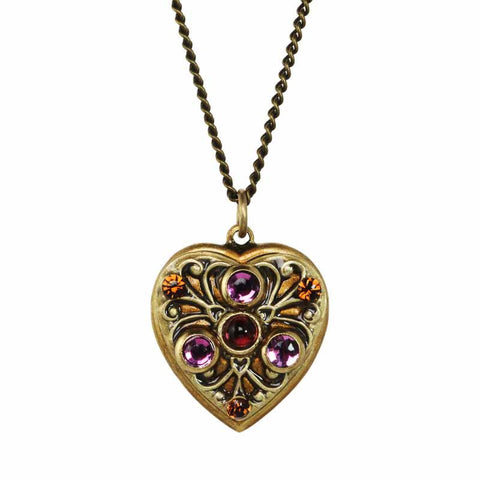 Michal Golan Amethyst Garnet Heart Necklace