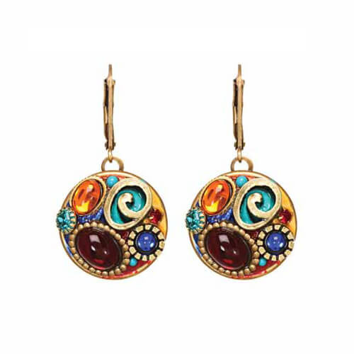 Michal Golan Colorful Round Earrings With Spiral