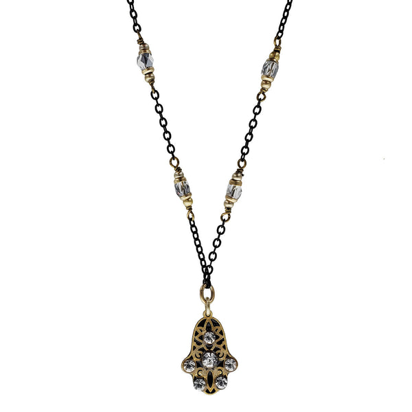 Michal Golan Petite Black And Clear Crystal Hamsa Necklace