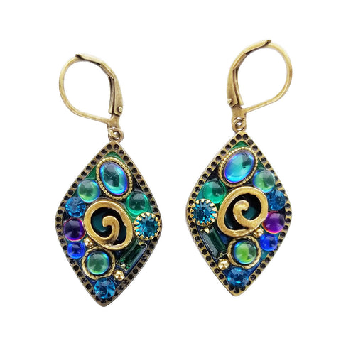 Michal Golan Diamond Blue Spiral Earrings