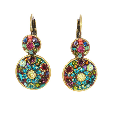 Michal Golan Double Circle Multi Bright Earrings