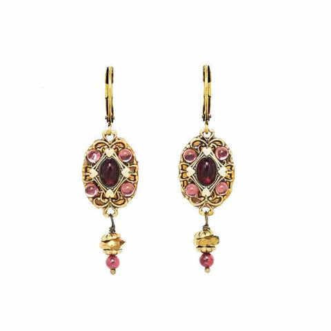 Michal Golan Oval Garnet Drop Earrings