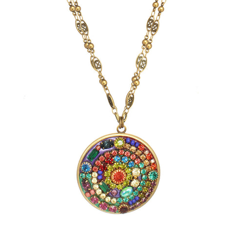 Michal Golan Multi Bright Double Chain Pendant Necklace