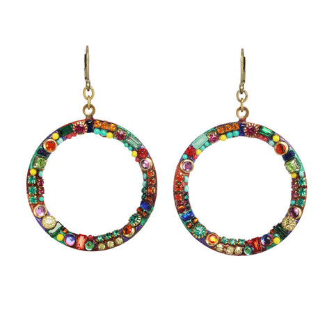 Michal Golan Multi Bright Open Hoop Earrings
