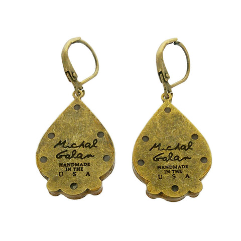 Michal Golan Multi Bright Pear Shaped Earrings Back Side