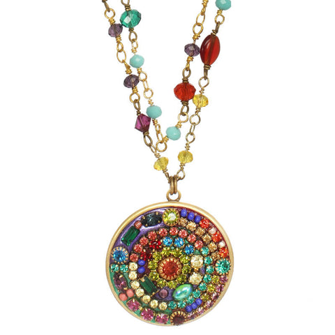 Michal Golan Multi Bright Beaded Chian Medallion Necklace