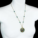 Michal Golan Emerald  Crystal Medallion Necklace Shown On Mannequin.