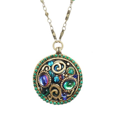 Michal Golan Emerald  Crystal Medallion Necklace