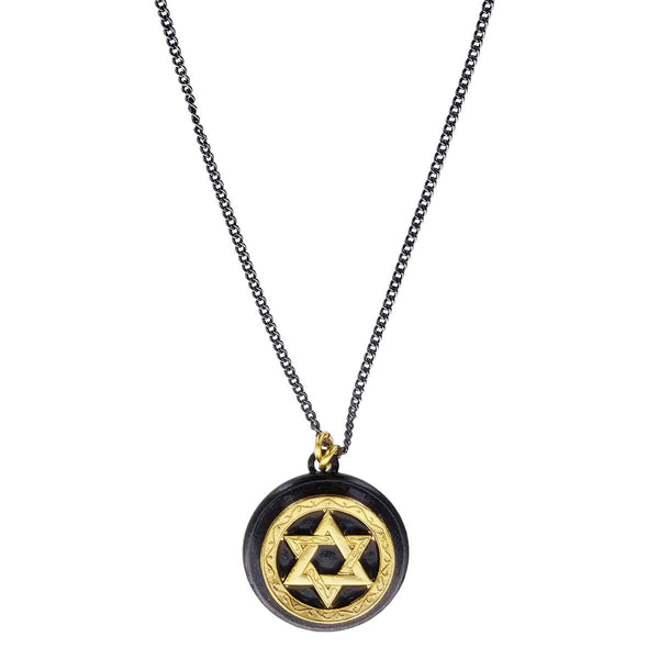 Michal Golan Round Pendant Gold Star David Necklace