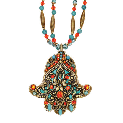 Michal Golan Coral And Teal Hamsa Necklace