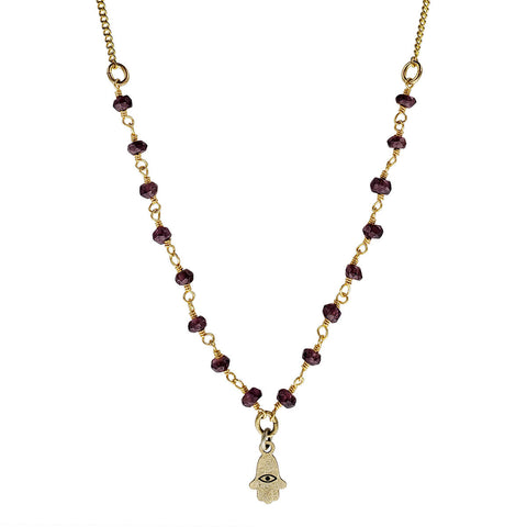 Michal Golan Tiny Garnet Hamsa Necklace