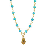 Michal Golan Tiny Turquoise Hamsa Necklace