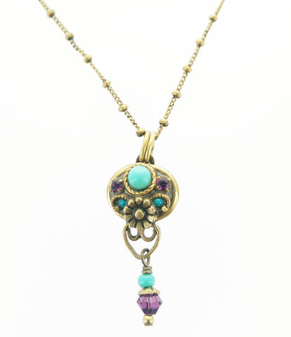 Michal Golan Flower Pendant Drop Necklace