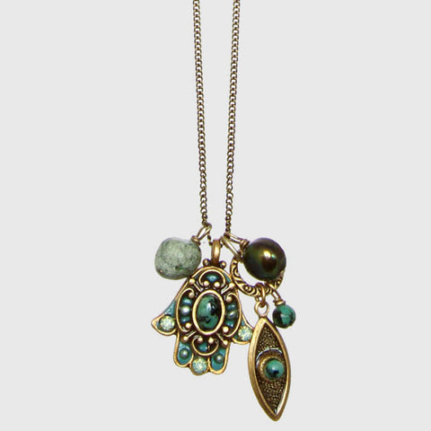 Michal Golan Hamsa African Turquoise Gold Necklace