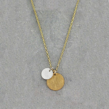 Zina Kao Petite Mixed Metal Double Disc Necklace