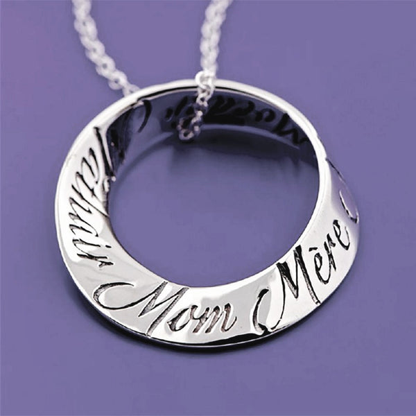 Mom In Ten Languages Sterling Silver Mobius Necklace