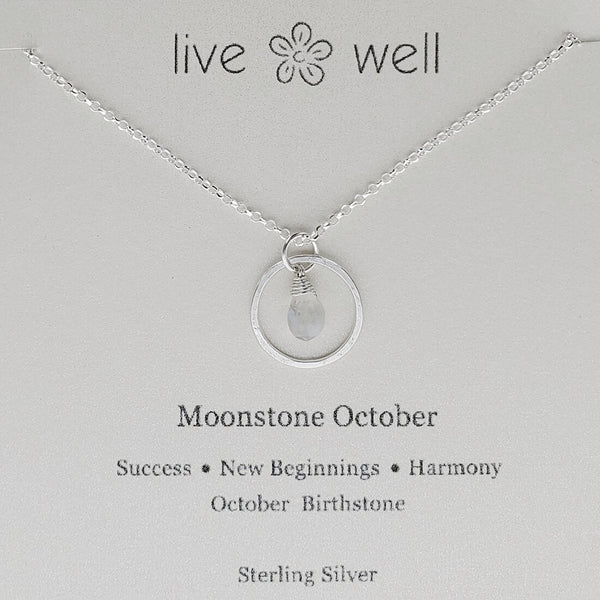 Moonstone October Hoop Necklace