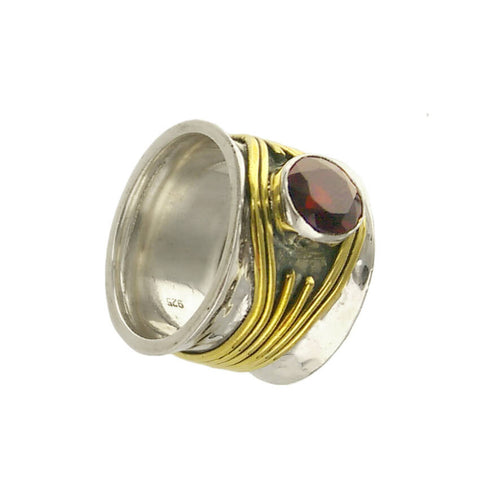 Multiwrapped Wide Band Garnet Ring