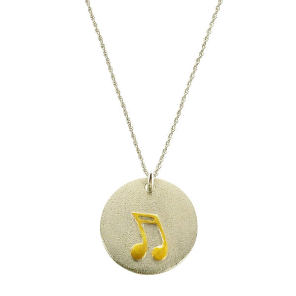 Musical Note Sterling Gold Necklace