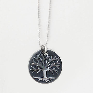 Tree of Life Black Patina Pendant Necklace