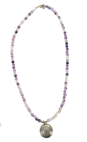 Large OM With Faceted Fluorite Necklace