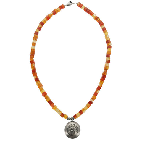 Om Fire  Carnelian Silver Necklace