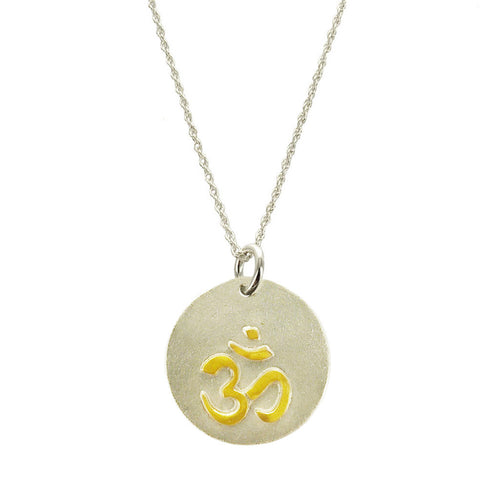 Hand Painted Gold Om On Sterling Silver Necklace