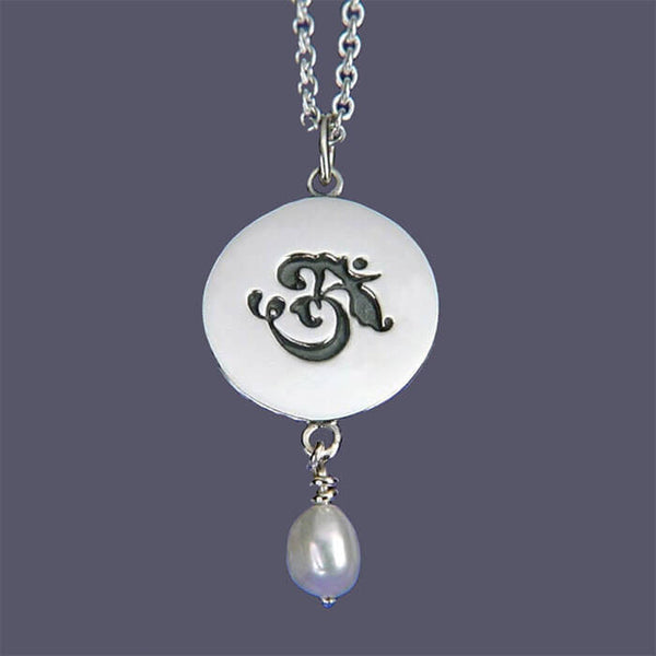 Om Necklace Pearl Drop